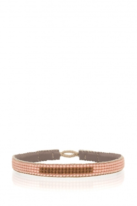 Tembi |  Leather bracelet with beads Bar | nude