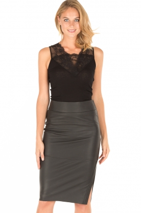 Dante 6 |  Leather pencilskirt Giselle | black