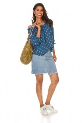 BEACHGOLD | Off-shoulder top Maisey | blauw