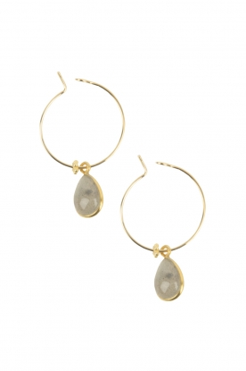 Lilly |  18k gold plated earrings Precious Stone | grey