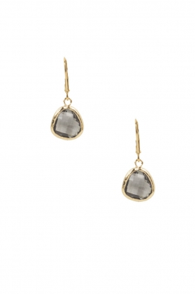 Lilly |  14k gold plated earrings Drop Crystal | grey
