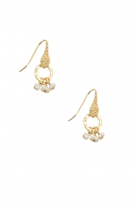 Lilly | 18k goud vergulden oorbellen Bunch Pearl | wit