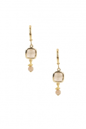 Lilly |  14k gold plated earrings Square | pink