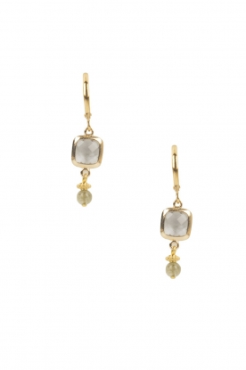 Lilly |  14k gold plated earrings Square | grey