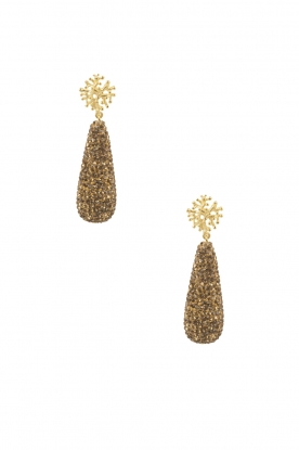 Lilly |  18k gold plated earrigns Treestud Swarovski drop | gold