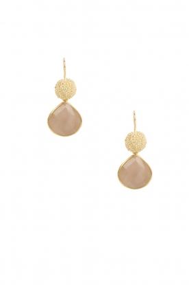 Lilly | 18k goud vergulden oorbellen Precious Drop L | roze