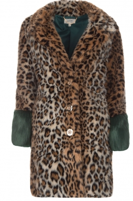 Kocca |  Faux-fur coat with leopard print Gillet | animal print