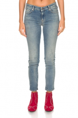 7 For All Mankind | Cropped slim illusion jeans Pyper | blauw