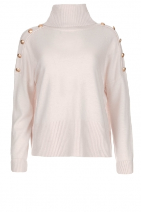 Hunkydory |  Turtle neck with golden buttons Lily | natural