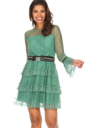 Atos Lombardini   Kanten jurk Sonelle   groen