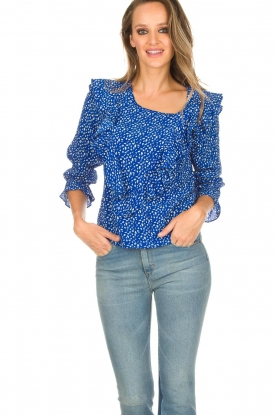 Lolly's Laundry | Blouse met volant Jessy | blauw