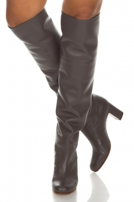 L'Autre Chose | Leren knee-high laarzen Nathalia | grijs