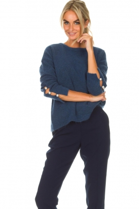 Dante 6 |  Sweater with pearls on the sleeves Pearl | blue