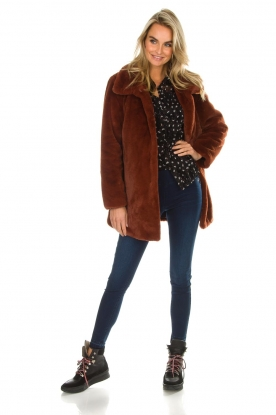 OAKWOOD | Faux fur jas Luna | rood