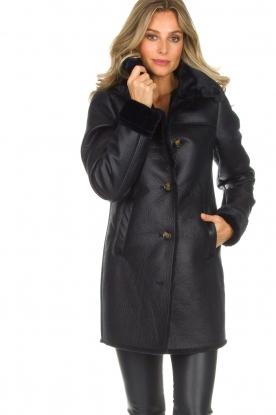 OAKWOOD   Faux lammy coat Timer   blauw