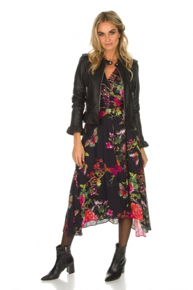 Hale Bob | Lange jurk met bloemenprint Yael | zwart