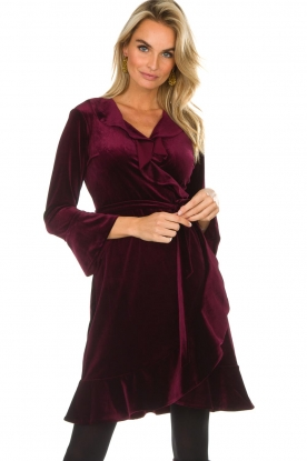 Hale Bob |  Velvet wrap dress Lexa | bordeaux