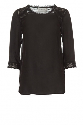 Rosemunde |  Top with lace Lovise | black