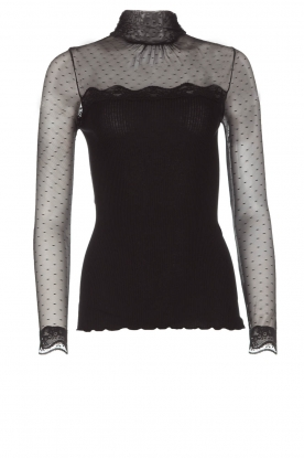 Rosemunde |  Turtleneck top with see-through sleeves Layla | black