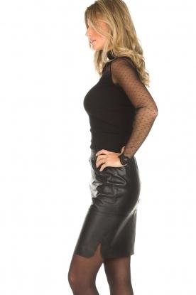 Rosemunde | Top met col en transparante mouwen Layla | zwart