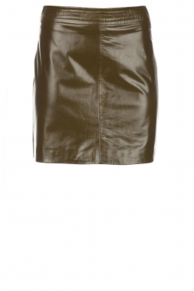 Arma |  Leather lacquer skirt Campbell | olive green