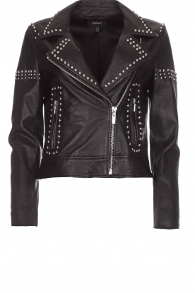 Arma |  Leather biker jacket with studs Jannice | black