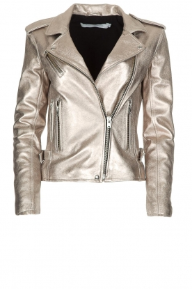IRO |  Metallic leather biker jacket Newhan | silver