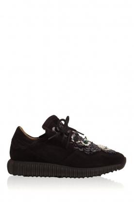 SVNTY   Suède sneakers Flower   zwart