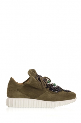 SVNTY | Suède sneakers Flower | groen