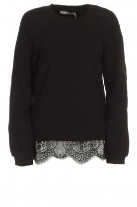 Aaiko   Sweatshirt met kanten detail Nadia   zwart