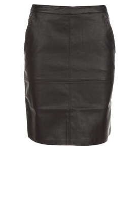 Knit-ted |  Faux leather skirt Aukje | black