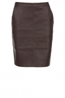 Knit-ted |  Faux leather skirt Aukje | brown