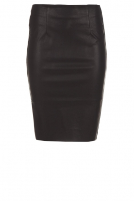 Knit-ted |  Faux leather skirt Astrid | black