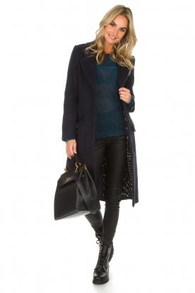 Knit-ted | Wollen jas Vivienne | blauw