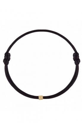 Just Franky |  Silk bracelet with 14k gold Cube Black | black