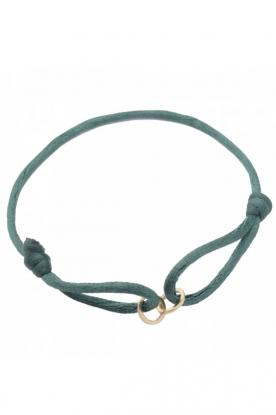 Zijden armband met 14k goud Open Circles  blauw