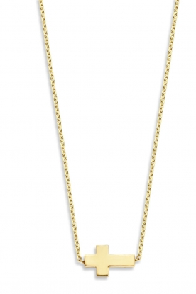Just Franky | 14k golden necklace Cross | yellow gold