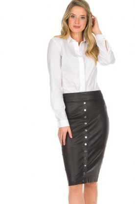 Dante 6 |  Leather skirt Lonestar | black