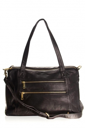 Depeche |  Leather shoulder bag Louise | black