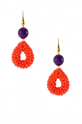 Miccy's |  Earrings with amethyst Open Drops | orange
