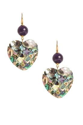 Miccy's |  Earrings with amethyst Paua Hearts | purple