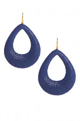 Miccy's   Oorbellen Large Open Drops   blauw