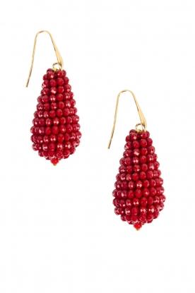 Oorbellen grote kristallen Druppel  Rood
