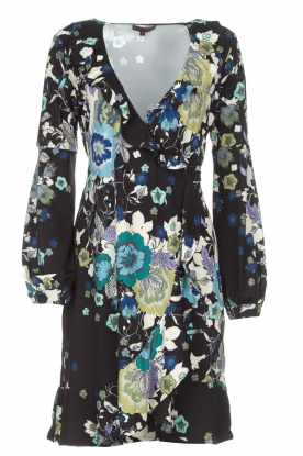 Hale Bob |  Wrap dress with floral print Allison | black
