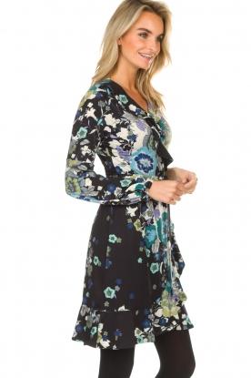 Hale Bob   Overslag jurk met bloemenprint Allison   zwart