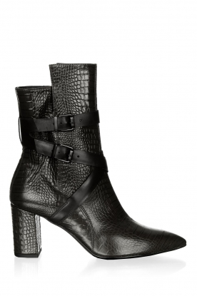 Janet & Janet |  Leather boots with buckle details Militair | black