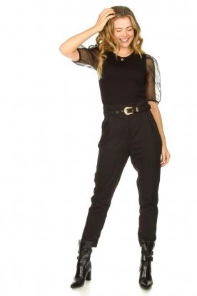 Janet & Janet | Leren laarzen met gespdetails Militair | zwart