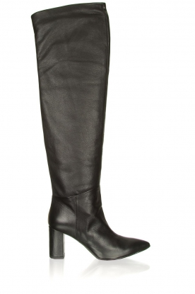 Janet & Janet |  Leather overknee boots Ferola | black