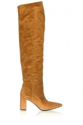 Janet & Janet |  Leather overknee boots Ferola | camel