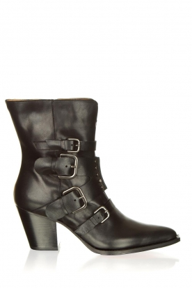 Toral |  Leather ankle boots with buckle details Grace | black